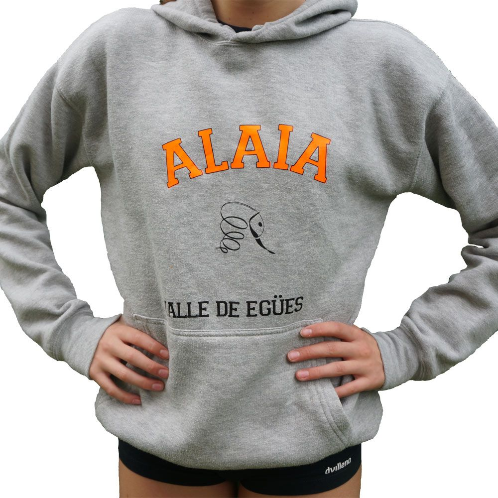 Sudadera gris con capucha y logotipo alaia